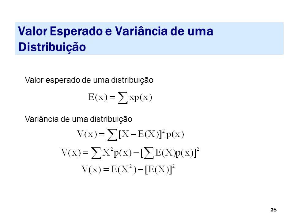 25 Valor Esperado e Variância de uma Distribuição Valor esperado de uma distribuição Variância de uma distribuição