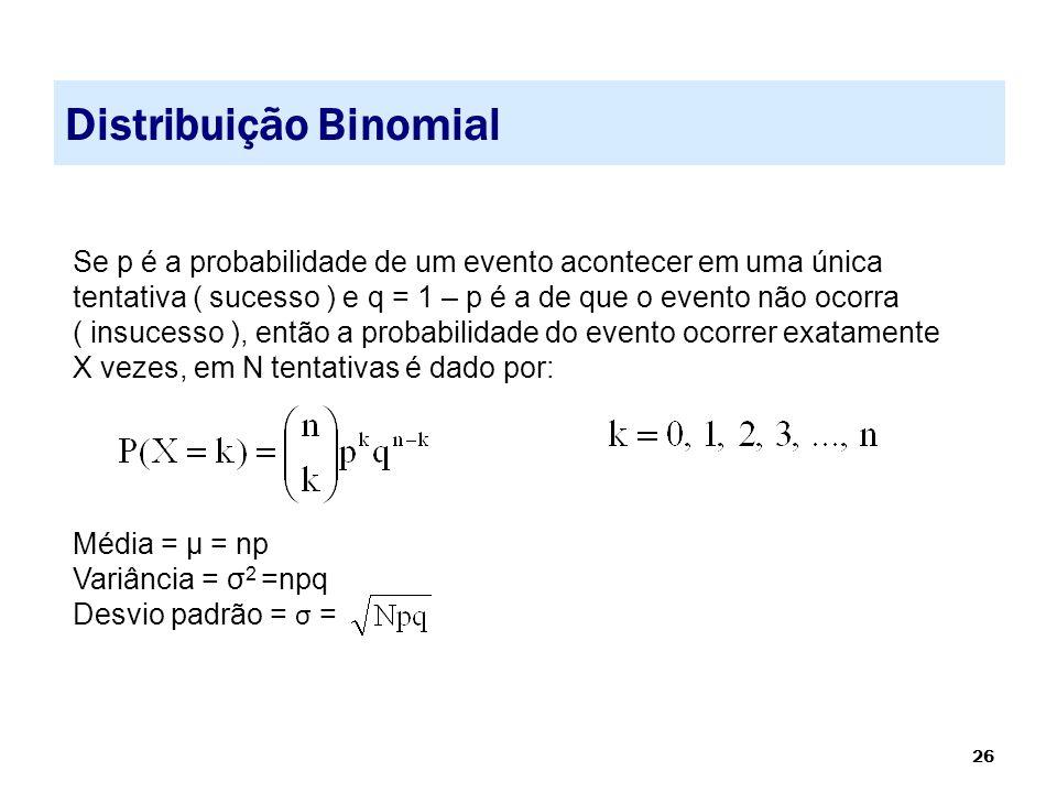 26 Distribuição Binomial Se p é a probabilidade de um evento acontecer em uma única tentativa ( sucesso ) e q = 1 – p é a de que o evento não ocorra (