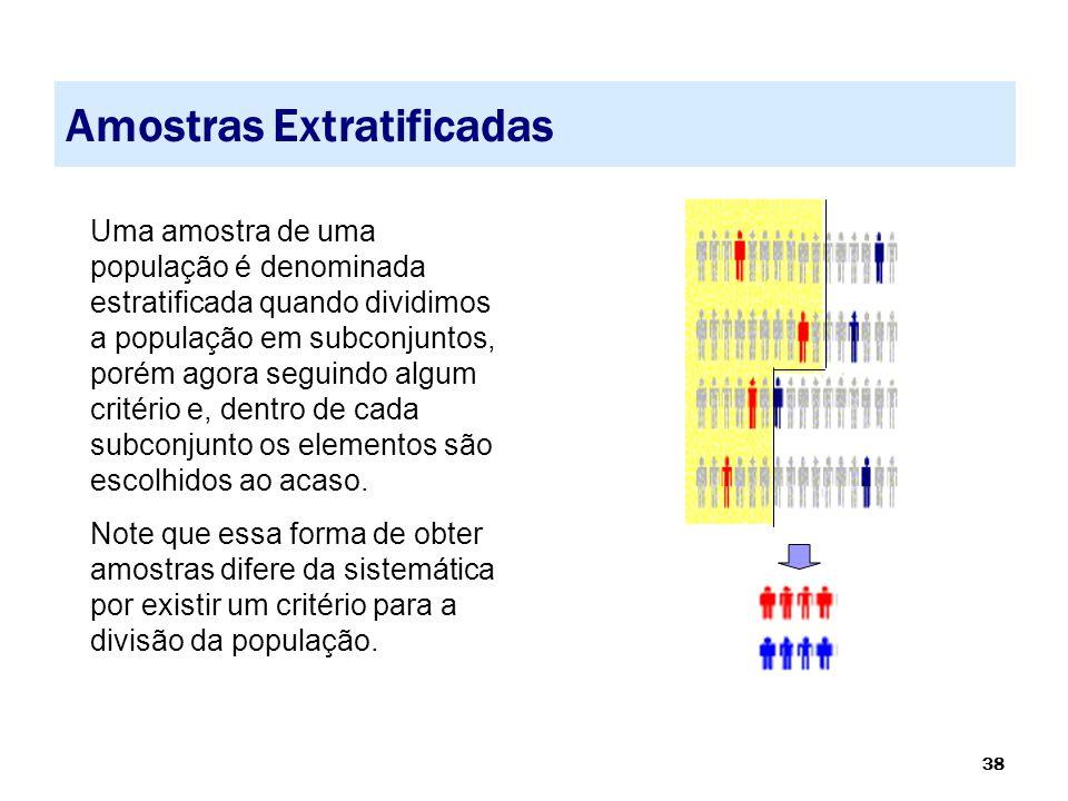 38 Amostras Extratificadas Uma amostra de uma população é denominada estratificada quando dividimos a população em subconjuntos, porém agora seguindo