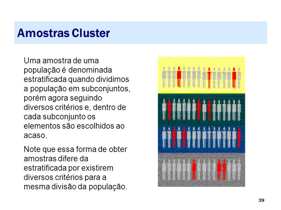 39 Amostras Cluster Uma amostra de uma população é denominada estratificada quando dividimos a população em subconjuntos, porém agora seguindo diverso