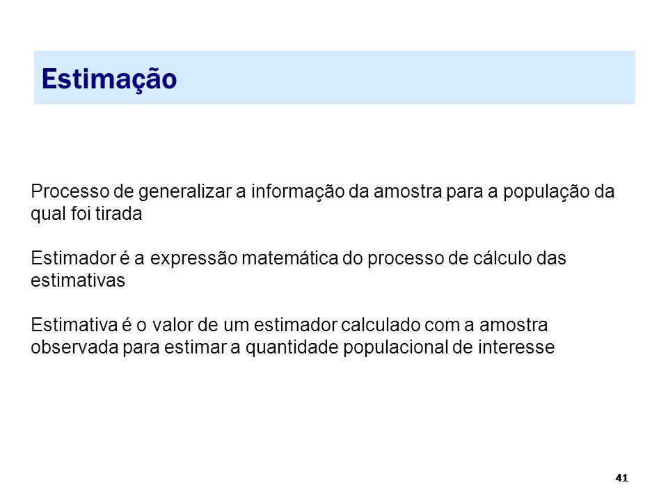 41 Estimação Processo de generalizar a informação da amostra para a população da qual foi tirada Estimador é a expressão matemática do processo de cál