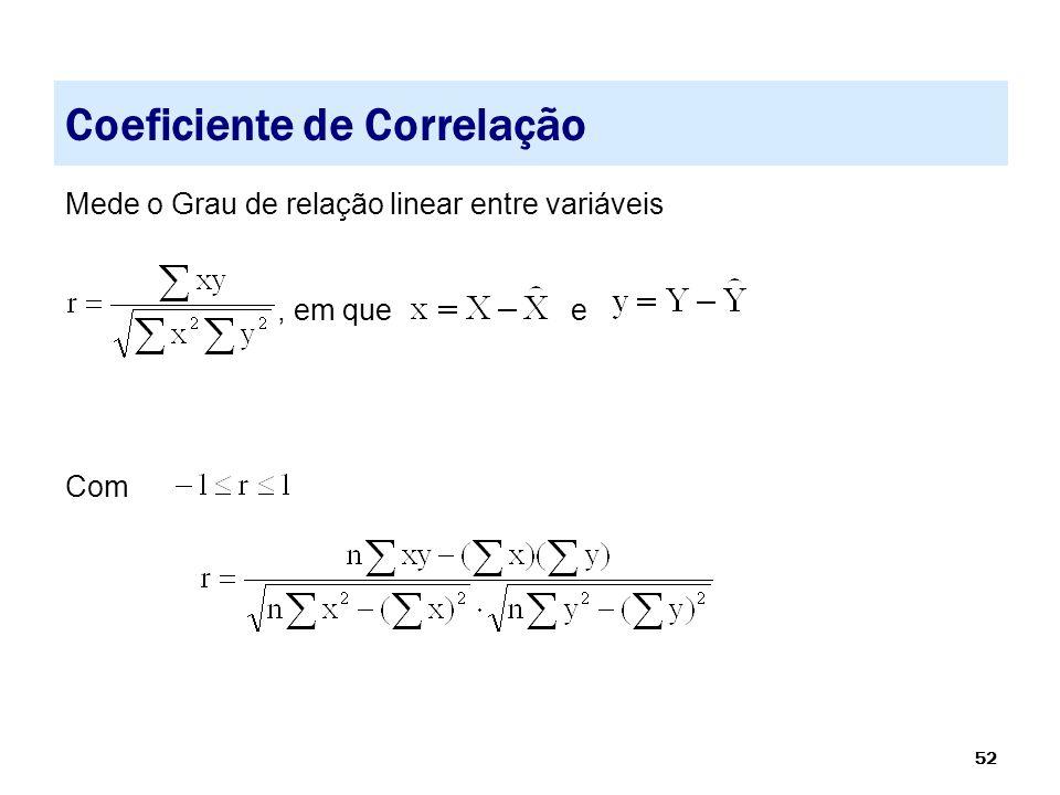 52 Coeficiente de Correlação Mede o Grau de relação linear entre variáveis, em que e Com
