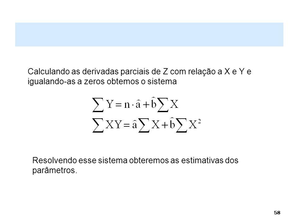 58 Calculando as derivadas parciais de Z com relação a X e Y e igualando-as a zeros obtemos o sistema Resolvendo esse sistema obteremos as estimativas
