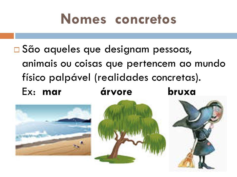 Nomes concretos  São aqueles que designam pessoas, animais ou coisas que pertencem ao mundo físico palpável (realidades concretas).