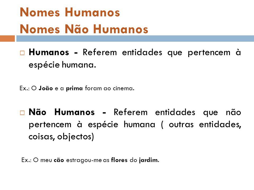 Nomes Humanos Nomes Não Humanos  Humanos - Referem entidades que pertencem à espécie humana.