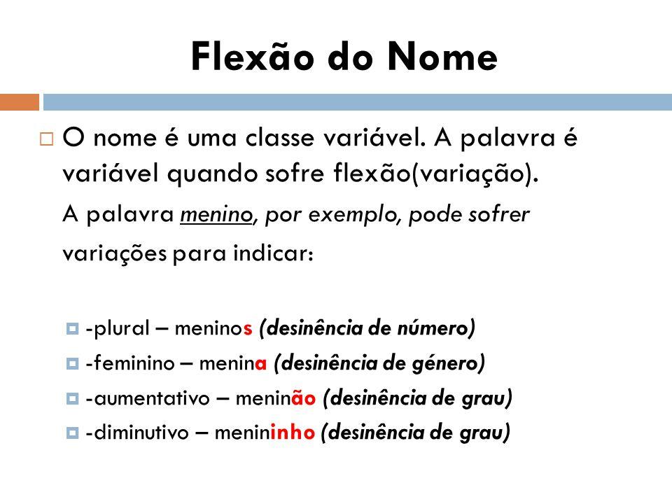  O nome é uma classe variável.A palavra é variável quando sofre flexão(variação).