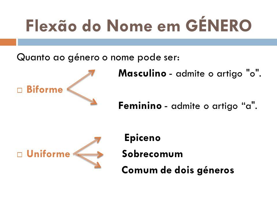Flexão do Nome em GÉNERO Quanto ao género o nome pode ser: Masculino - admite o artigo o .