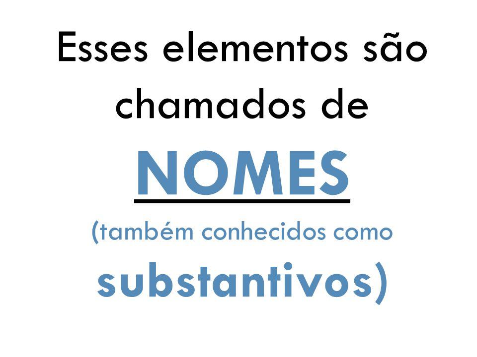 Esses elementos são chamados de NOMES (também conhecidos como substantivos)