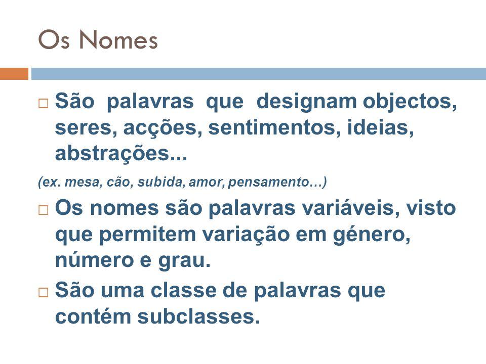 Os Nomes  São palavras que designam objectos, seres, acções, sentimentos, ideias, abstrações...