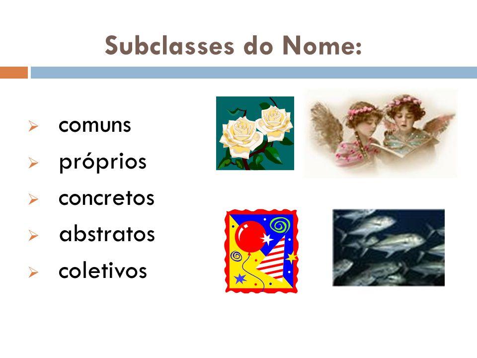 Subclasses do Nome:  comuns  próprios  concretos  abstratos  coletivos