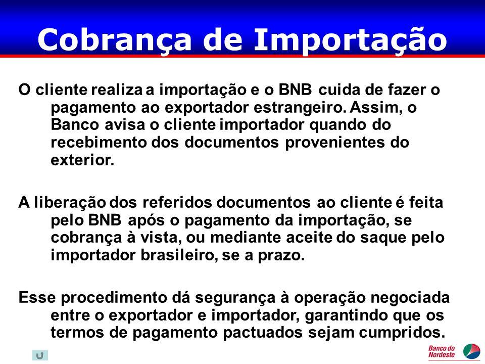 Cobrança de Importação O cliente realiza a importação e o BNB cuida de fazer o pagamento ao exportador estrangeiro. Assim, o Banco avisa o cliente imp