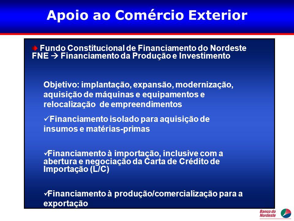 •Acesso pela INTERNET •(www.bnb.gov.br)www.bnb.gov.br Elabore sua Proposta de Crédito\I - Formulário-Padrão para Apresentação de Propostas ao BNB (é necessário ter cadastro e limite de crédito aprovados) Elabore sua Proposta de Crédito Clicar em Formulários-Padrão •Na Proposta de Financiamento Formulário Padrão Assinalar: •Financiamento à produção/comercialização para exportação - (Nordeste Exportação - NExport) NORDESTE EXPORTAÇÃO
