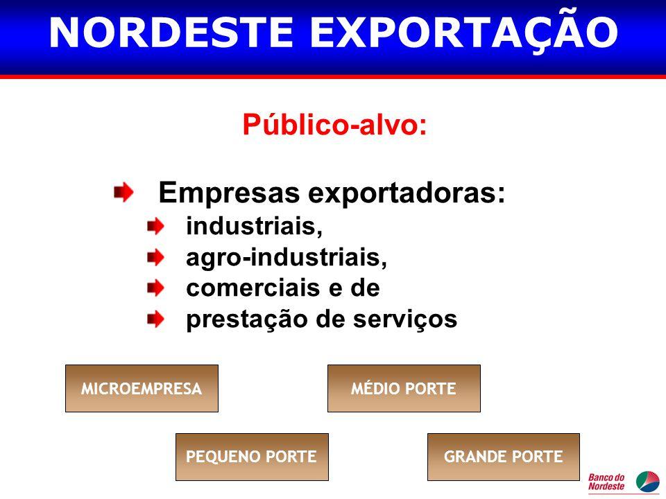 Público-alvo: Empresas exportadoras: industriais, agro-industriais, comerciais e de prestação de serviços MICROEMPRESAMÉDIO PORTE PEQUENO PORTEGRANDE