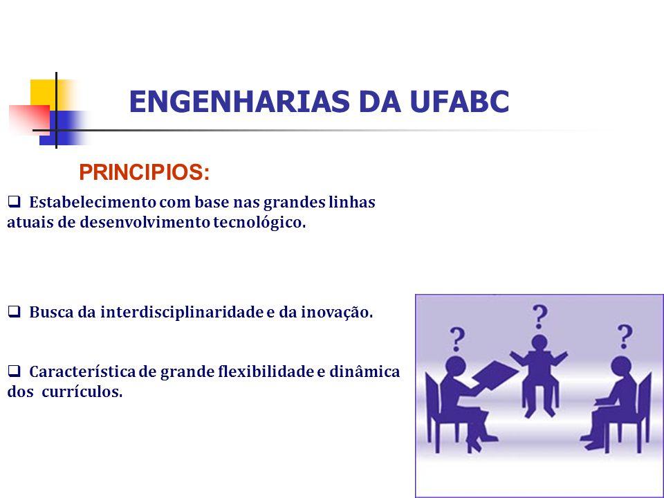 ENGENHARIAS DA UFABC  Estabelecimento com base nas grandes linhas atuais de desenvolvimento tecnológico.  Busca da interdisciplinaridade e da inovaç