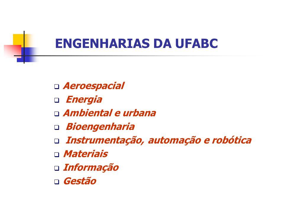 ENGENHARIAS DA UFABC  Aeroespacial  Energia  Ambiental e urbana  Bioengenharia  Instrumentação, automação e robótica  Materiais  Informação  G