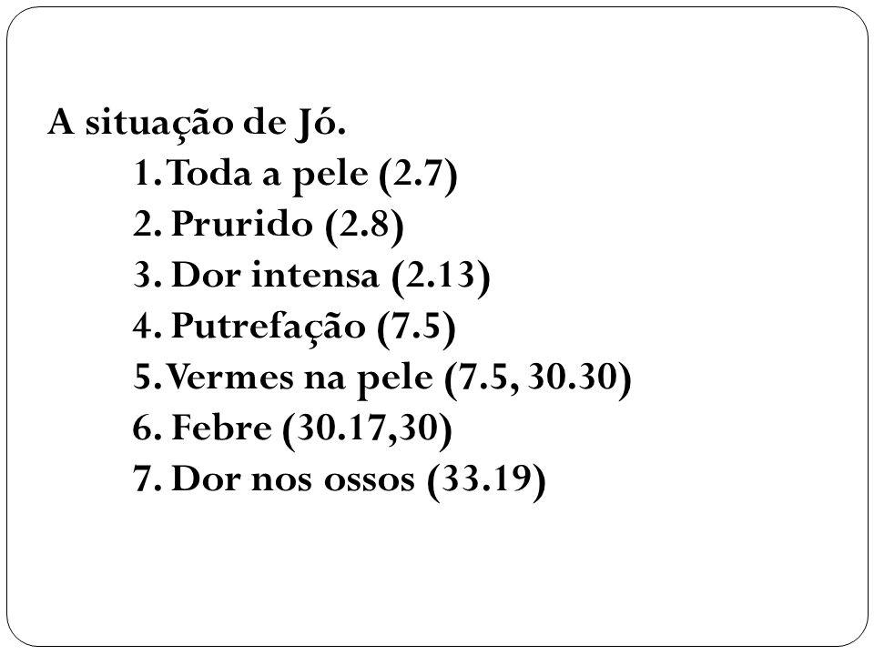 A situação de Jó. 1. Toda a pele (2.7) 2. Prurido (2.8) 3. Dor intensa (2.13) 4. Putrefação (7.5) 5. Vermes na pele (7.5, 30.30) 6. Febre (30.17,30) 7