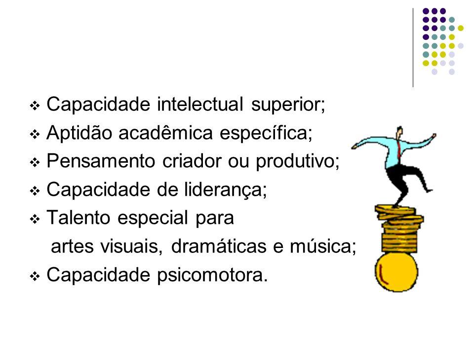  Capacidade intelectual superior;  Aptidão acadêmica específica;  Pensamento criador ou produtivo;  Capacidade de liderança;  Talento especial pa