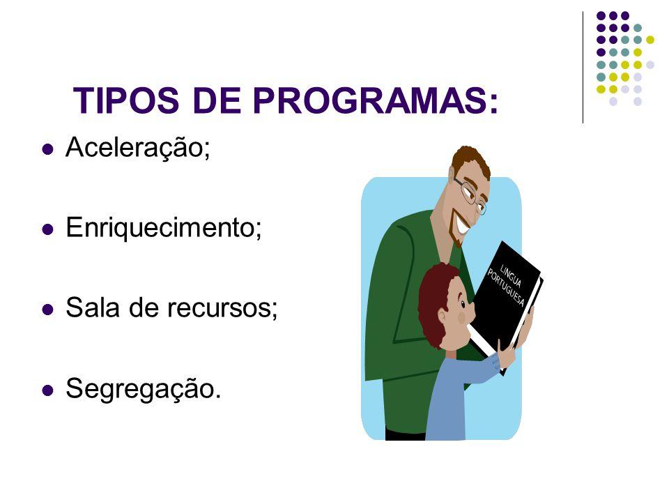 TIPOS DE PROGRAMAS:  Aceleração;  Enriquecimento;  Sala de recursos;  Segregação.