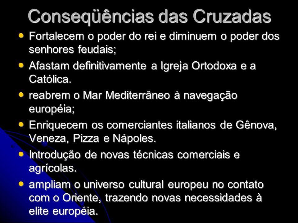 Conseqüências das Cruzadas • Fortalecem o poder do rei e diminuem o poder dos senhores feudais; • Afastam definitivamente a Igreja Ortodoxa e a Católi