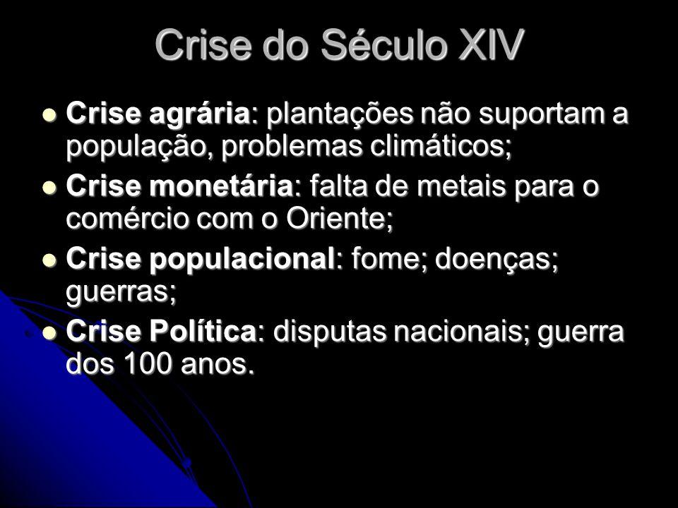 Crise do Século XIV  Crise agrária: plantações não suportam a população, problemas climáticos;  Crise monetária: falta de metais para o comércio com