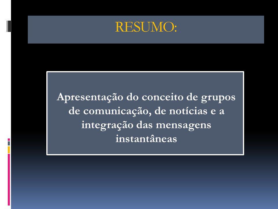 Comunicação Grupos de Notícias Comunicação Interactiva Envio de Mensagens