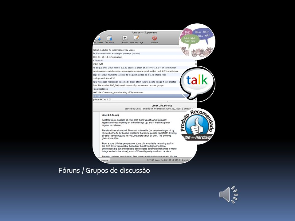 RESUMO: Apresentação do conceito de grupos de comunicação, de notícias e a integração das mensagens instantâneas