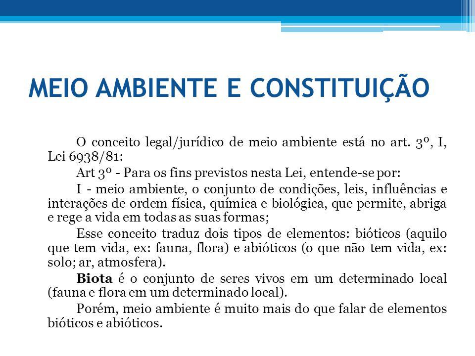 MEIO AMBIENTE E CONSTITUIÇÃO O conceito legal/jurídico de meio ambiente está no art. 3º, I, Lei 6938/81: Art 3º - Para os fins previstos nesta Lei, en