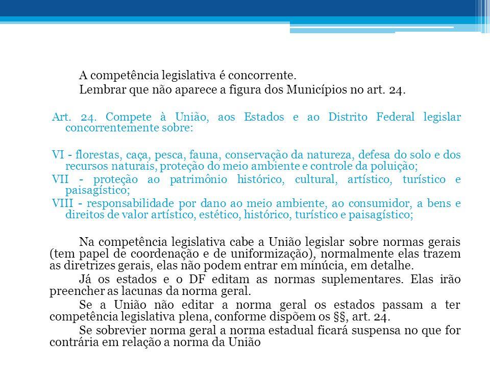 A competência legislativa é concorrente. Lembrar que não aparece a figura dos Municípios no art. 24. Art. 24. Compete à União, aos Estados e ao Distri