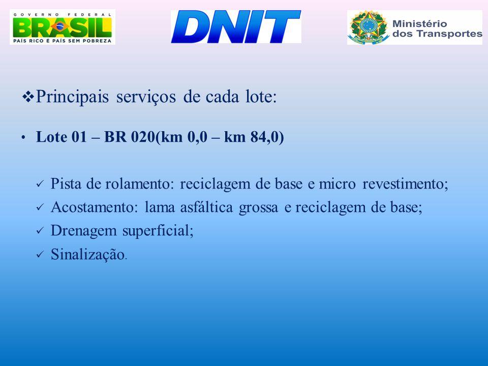  Principais serviços de cada lote: • Lote 01 – BR 020(km 0,0 – km 84,0)  Pista de rolamento: reciclagem de base e micro revestimento;  Acostamento: