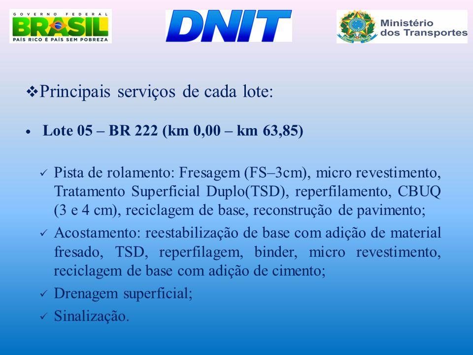  Principais serviços de cada lote:  Lote 05 – BR 222 (km 0,00 – km 63,85)  Pista de rolamento: Fresagem (FS–3cm), micro revestimento, Tratamento Su