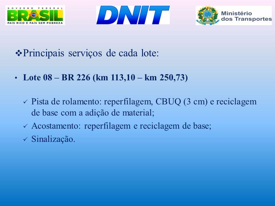  Principais serviços de cada lote: • Lote 08 – BR 226 (km 113,10 – km 250,73)  Pista de rolamento: reperfilagem, CBUQ (3 cm) e reciclagem de base co