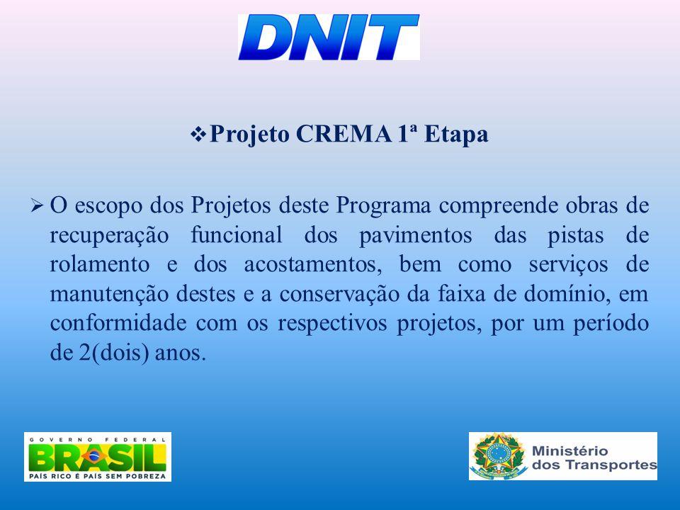  Projeto CREMA 1ª Etapa  O escopo dos Projetos deste Programa compreende obras de recuperação funcional dos pavimentos das pistas de rolamento e dos