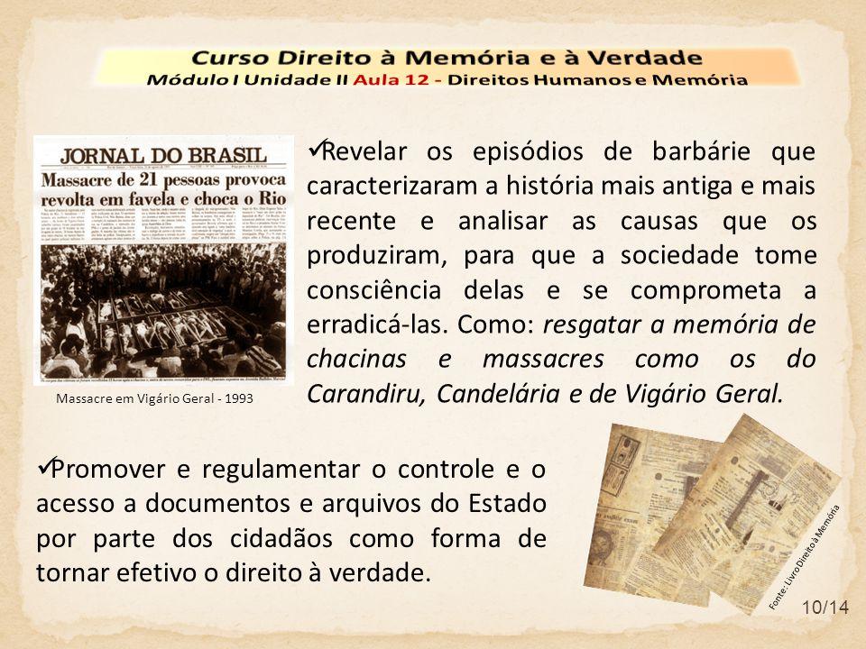10/14  Promover e regulamentar o controle e o acesso a documentos e arquivos do Estado por parte dos cidadãos como forma de tornar efetivo o direito