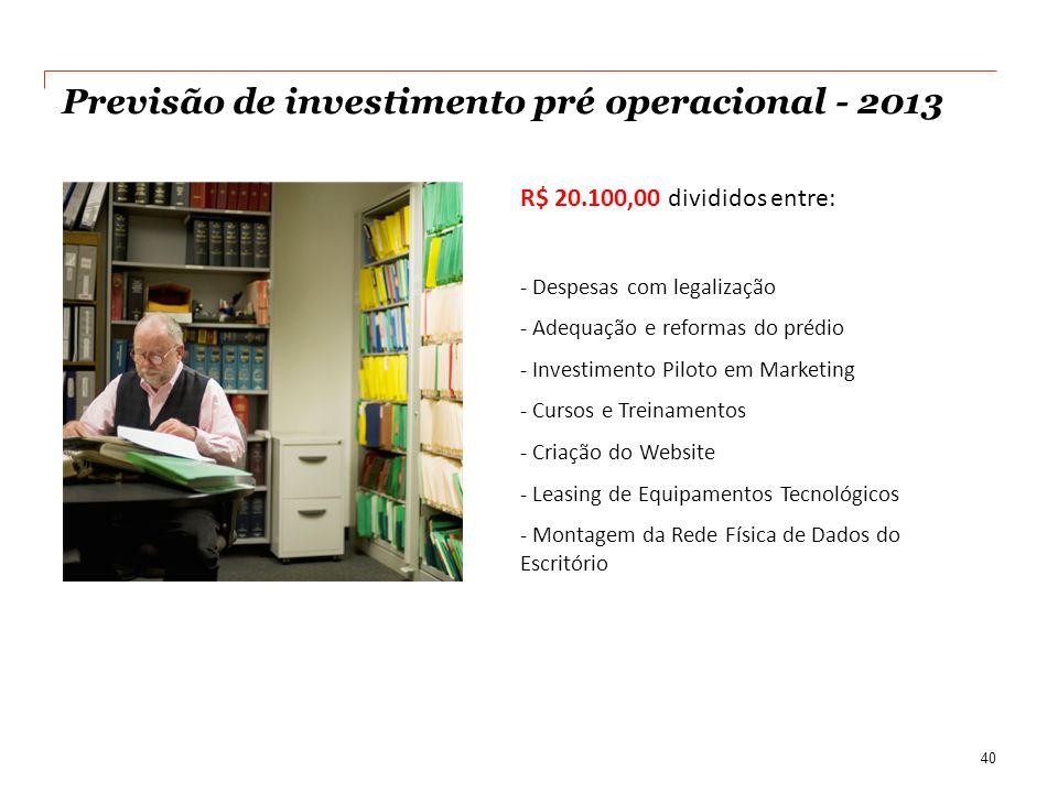 Previsão de investimento pré operacional - 2013 R$ 20.100,00 divididos entre: - Despesas com legalização - Adequação e reformas do prédio - Investimen
