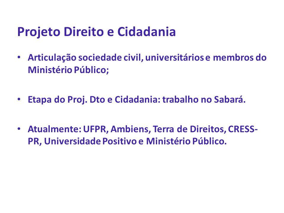 Projeto Direito e Cidadania • Articulação sociedade civil, universitários e membros do Ministério Público; • Etapa do Proj. Dto e Cidadania: trabalho