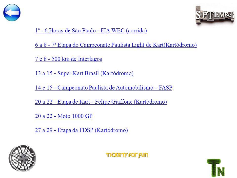1º - 6 Horas de São Paulo - FIA WEC (corrida) 6 a 8 - 7ª Etapa do Campeonato Paulista Light de Kart(Kartódromo) 7 e 8 - 500 km de Interlagos 13 a 15 - Super Kart Brasil (Kartódromo) 14 e 15 - Campeonato Paulista de Automobilismo – FASP 20 a 22 - Etapa de Kart - Felipe Giaffone (Kartódromo) 20 a 22 - Moto 1000 GP 27 a 29 - Etapa da FDSP (Kartódromo)