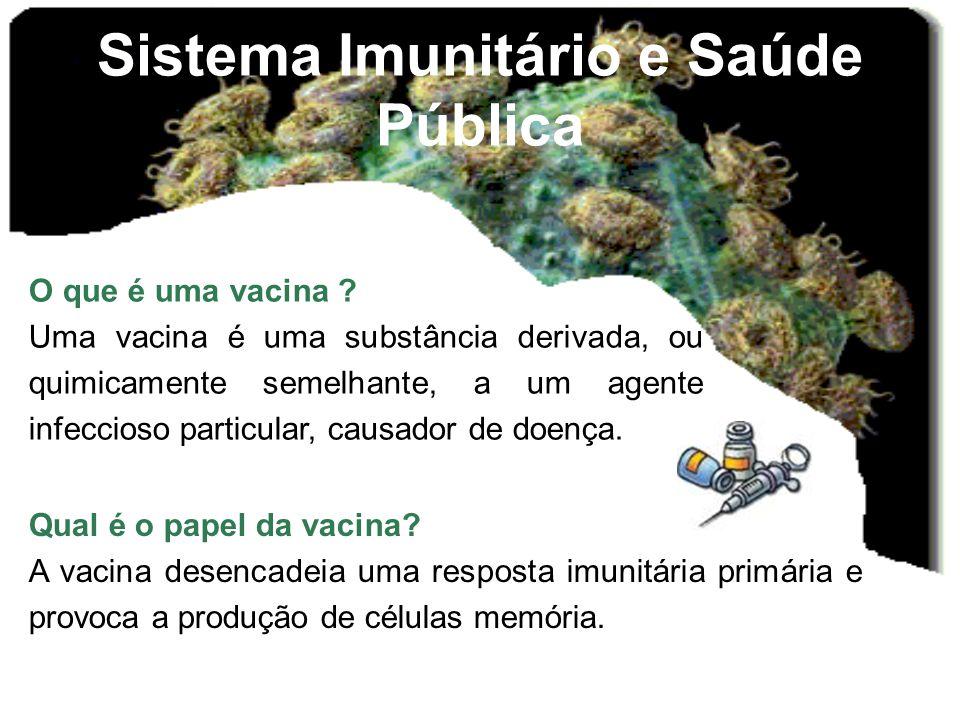 Sistema Imunitário e Saúde Pública O que é uma vacina ? Uma vacina é uma substância derivada, ou quimicamente semelhante, a um agente infeccioso parti