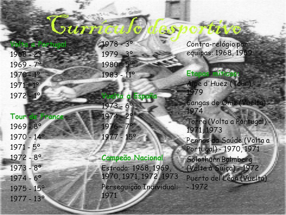 Carreira desportiva Sporting: 1968-1973,1975 e 1984 Frimatic - de Gribaldy : 1969-1970 Hoover: 1971 Magniflex - de Gribaldy : 1972 Bic: 1973,1974 Teka: 1976,1977 Flandria: 1978,1979 Puch-Sem-Campagnolo: 1980 Sem-France Loire: 1981,1983 Sporting Lisboa-Raposeira : 1984