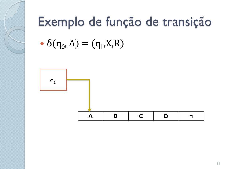 Exemplo de função de transição  δ( q 0, A) = ( q 1,X,R) ABCD □ q0q0 11