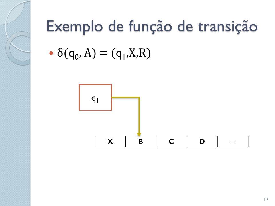 Exemplo de função de transição  δ( q 0, A) = ( q 1,X,R) XBCD □ q1q1 12
