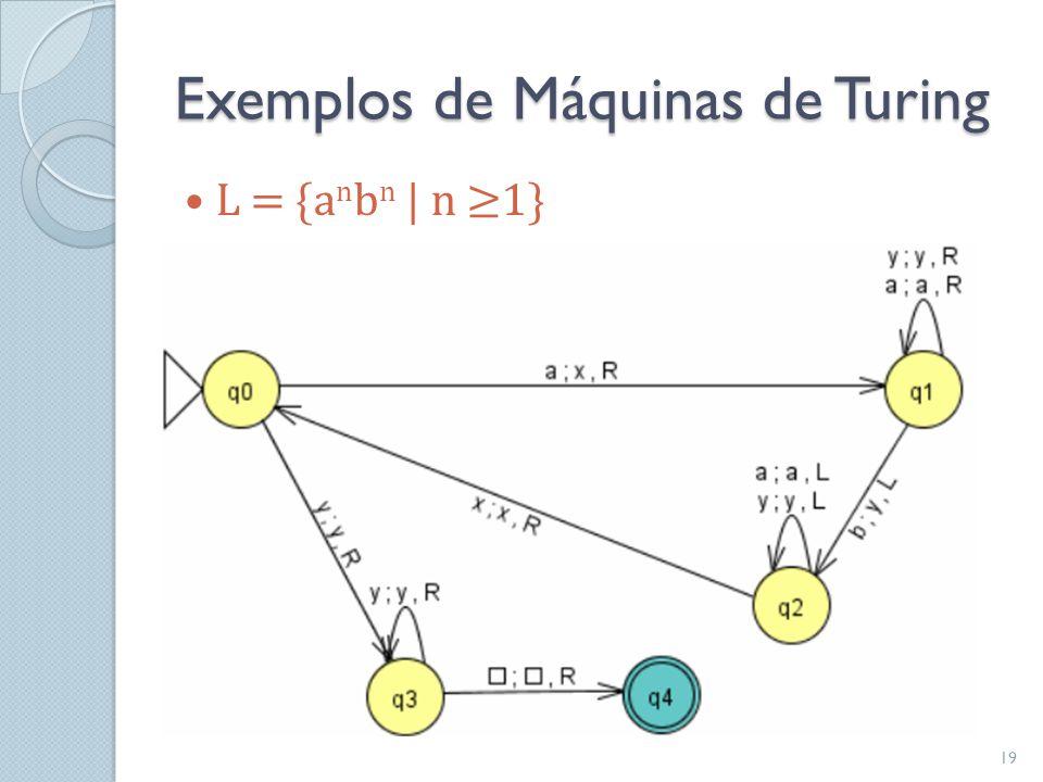 Exemplos de Máquinas de Turing  L = {a n b n   n ≥1} 19