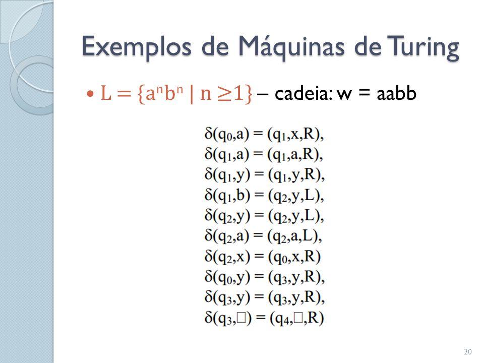 Exemplos de Máquinas de Turing  L = {a n b n   n ≥1} – cadeia: w = aabb 20