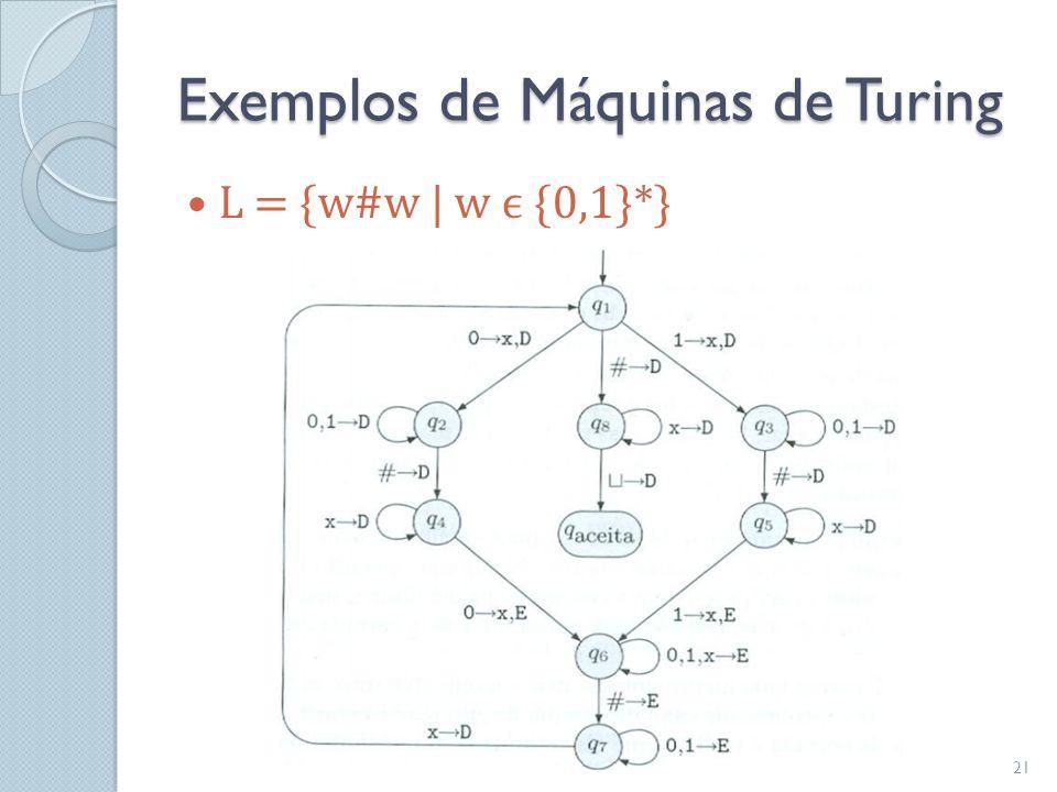 Exemplos de Máquinas de Turing  L = {w#w   w ϵ {0,1}*} 21