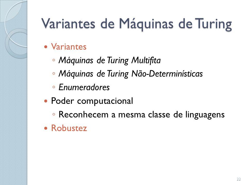 Variantes de Máquinas de Turing  Variantes ◦ Máquinas de Turing Multifita ◦ Máquinas de Turing Não-Determinísticas ◦ Enumeradores  Poder computacion