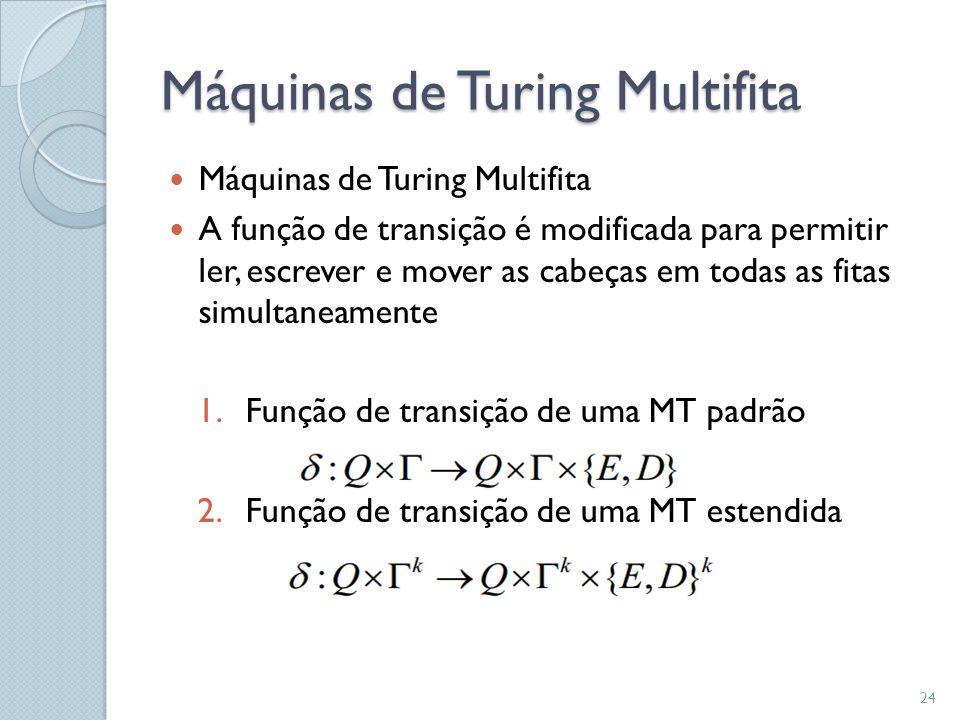 Máquinas de Turing Multifita  Máquinas de Turing Multifita  A função de transição é modificada para permitir ler, escrever e mover as cabeças em tod