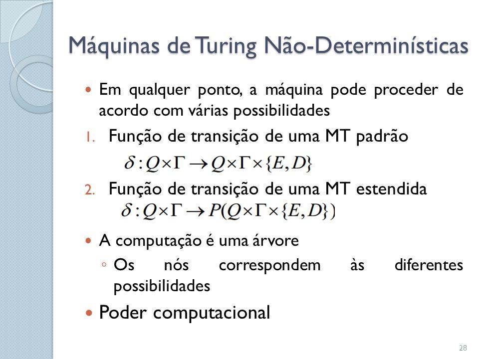 Máquinas de Turing Não-Determinísticas  Em qualquer ponto, a máquina pode proceder de acordo com várias possibilidades 1. Função de transição de uma