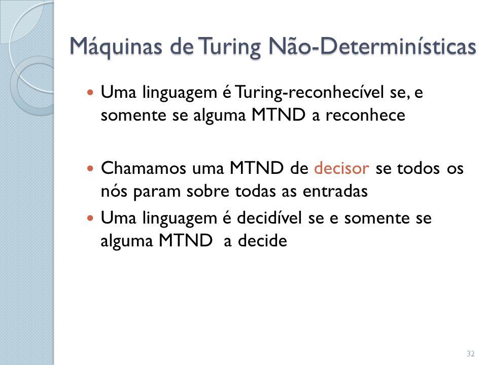  Uma linguagem é Turing-reconhecível se, e somente se alguma MTND a reconhece  Chamamos uma MTND de decisor se todos os nós param sobre todas as ent