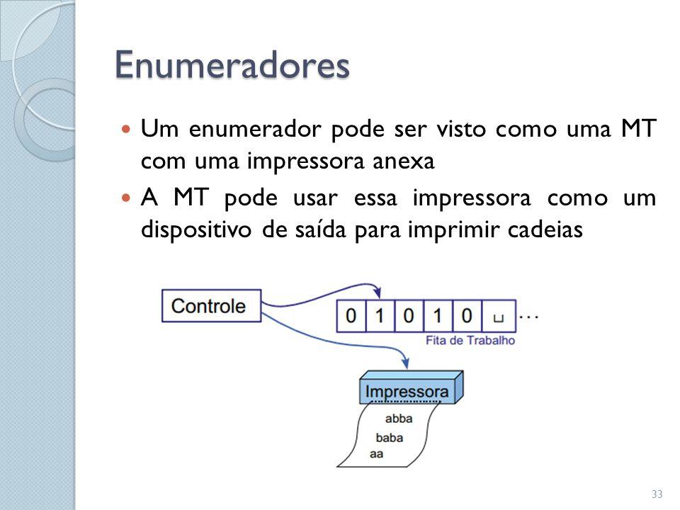 Enumeradores  Um enumerador pode ser visto como uma MT com uma impressora anexa  A MT pode usar essa impressora como um dispositivo de saída para im