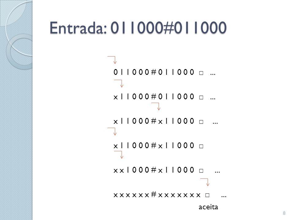 Definição formal de uma Máquina de Turing  Uma MT é definida como uma 7-upla: M = (Q, Σ, Γ, δ, q 0, q aceita,q rejeita )  Onde: ◦ Q é o conjunto de estados, ◦ Σ é o alfabeto de entrada sem o símbolo em branco ( □ ), ◦ Γ é o alfabeto da fita, onde □ ϵ Γ e Σ ⊆ Γ, ◦ δ : Q x Γ→ Q x Γ x {L, R} é a função de transição, ◦ q 0 Q é o estado inicial, ◦ q aceita ϵ Q é o estado de aceitação e, ◦ q rejeita ϵ Q é o estado de rejeição (q aceita ≠ q rejeita ).