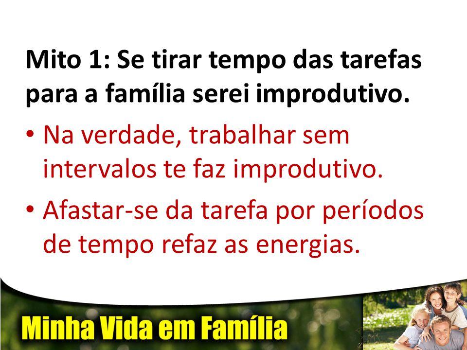 Mito 1: Se tirar tempo das tarefas para a família serei improdutivo. • Na verdade, trabalhar sem intervalos te faz improdutivo. • Afastar-se da tarefa